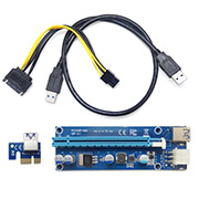 PCE16 6P-N03 USB 3.0 PCI-E 1X TO 16X Extender Riser Card Adapter SATA Power 50cm
