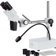 AmScope 10X-20X LED Binocular Stereo Microscope Boom Arm + LED Gooseneck