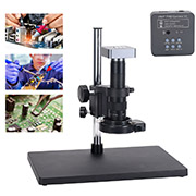 Full Set 48MP 2K Industrial Soldering Microscope Camera HDMI USB Outputs 180X C-mount Lens 144 LED Light Big Boom for PCB Repair